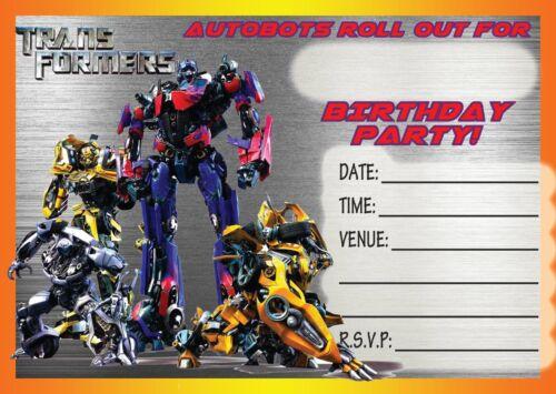 transformers childrens birthday party invitations invites kids autobot bumblebee