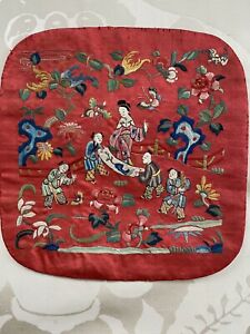 ANTIQUE CHINESE QING ERA CHERRY RED SILK EMBROIDERED SQUARE FIGURAL SCENE