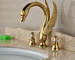 details about 3pcs golden brass swan bathtub crystal 2 swan handles faucet bath tub mixer taps