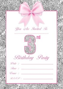 details about girls 3rd birthday party invitations kids childrens invites pink silver