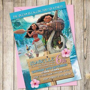 details about personalised moana birthday party invitations moana birthday invites