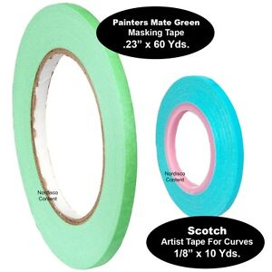 "1/4"" Painters Masking Tape .23"" With 1/8"" Artist Tape For Curves"