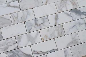 details about 3 x 6 calacatta gold polished marble subway tiles kitchen backsplash bath