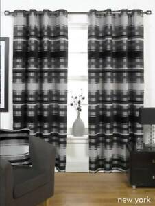 details sur noir gris lourd epais double oeillet rideaux 4 tailles