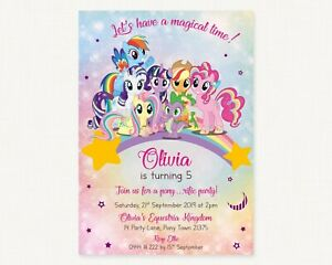 details about you print my little pony birthday invitations personalised rainbow pony s invite
