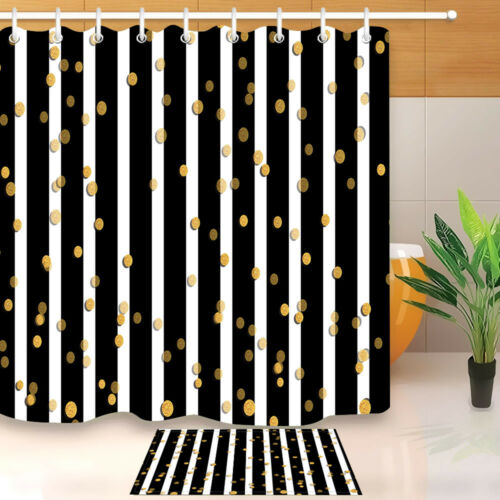 72x72 bathroom waterproof fabric shower curtain 12 hooks black white gold spot
