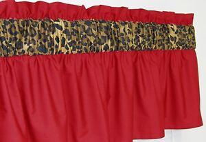 3 In Wide Rod Pocket Red Amp Cheetah Leopard Window Curtain Valance 1599 EBay