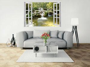 Wasserfall Natur 3D -Fenster-Ansicht Riesige Wandtattoo Tapete Vinyl