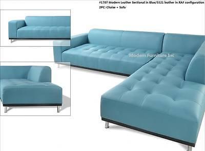 modern contemporary design blue leather sectional sofa 3 pieces set 1707 ebay