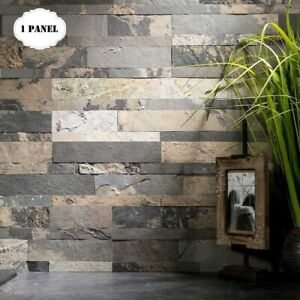details about peel and stick tile self adhesive stone slate wall kitchen backsplash grey tan