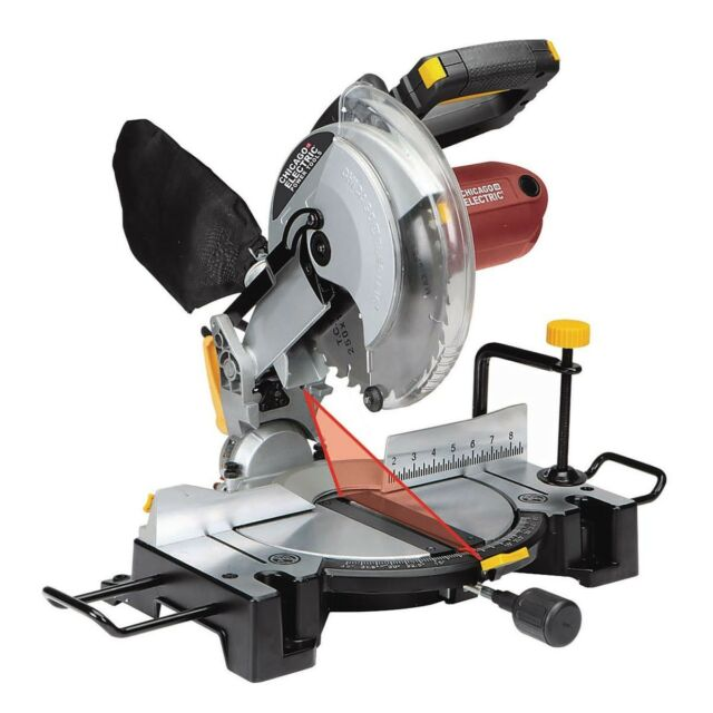 Chicago Electric 10 Compound Miter Saw With Laser Guide System 15amp
