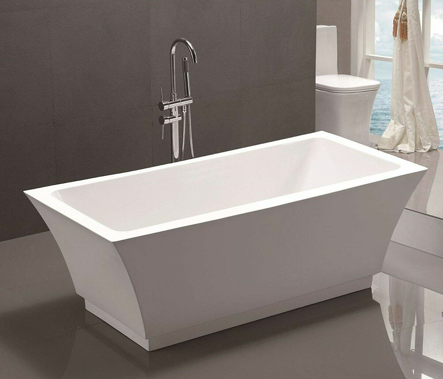 67 Freestanding Bathtub White Acrylic Modern Rectangular Soaking Tub
