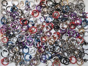 25 Stück BCR Piercing Klemmkugelring Ball Closure Ring Großhandel MIX Studio neu