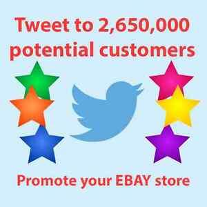 Promote eBay Store, Twitter Tweet Advertisement to 2,650,000 real people, SEO