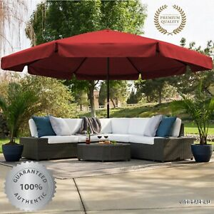 details about large patio umbrella market style base huge outdoor sun shade 16ft garden canopy