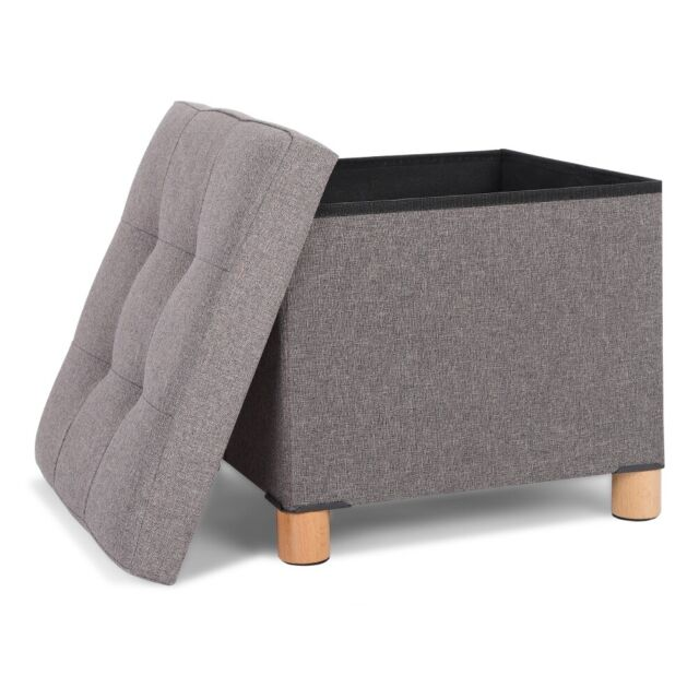 fabric ottoman storage stool pouffe foot rest padded seat box bench with legs
