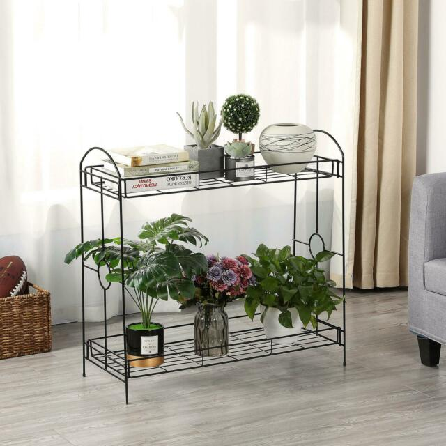 2 Tier Metal Shelves Indoor Plant Stand Display Flower Pots Rack Outdoor Garden For Sale Online Ebay