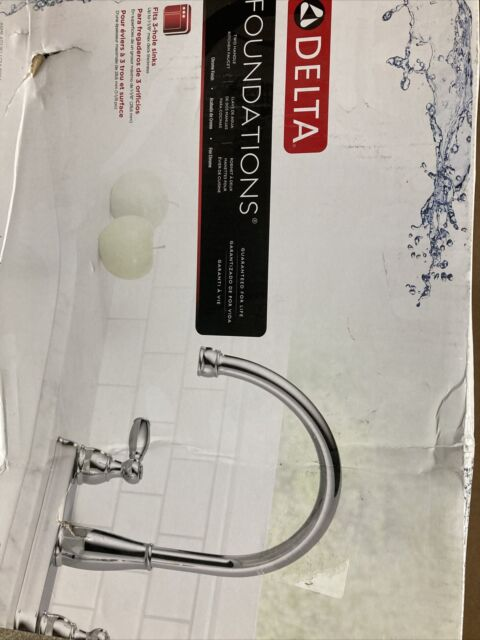 delta foundations 2 handle standard kitchen faucet chrome 21987lf