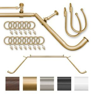 details about energy save blackout privacy curved return bay window double curtain rod 1 gold