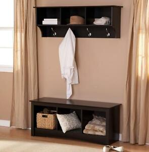 details about entryway bench and shelf mudroom wood set hall tree cubby nook black coat rack