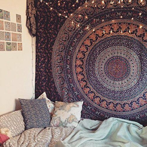 WALL-DECOR-HIPPIE-TAPESTRIES-BOHEMIAN-MANDALA-TAPESTRY-WALL-HANGING-INDIAN-THROW