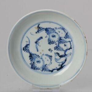 Antique 17th C Chinese Porcelain Ming Transitional China Plate Bird Insect