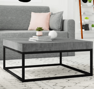 details about modern coffee table grey concrete look industrial style furniture square room