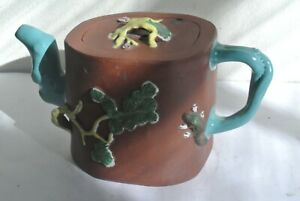 Antique Yixing Zisha Teapot With Colorful Glaze Of 3 WINTER FRIENDS and squirrel