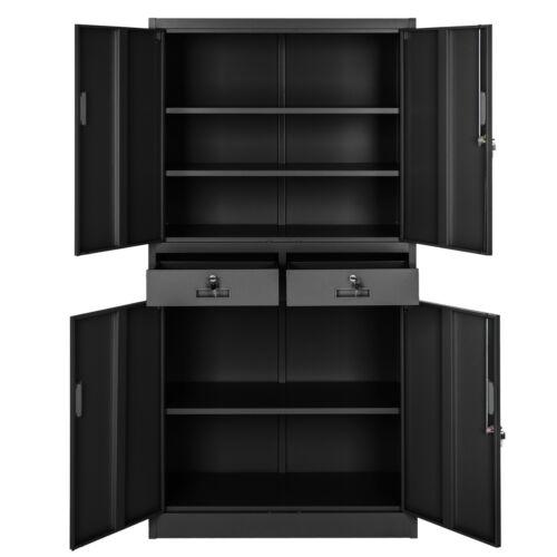 mobel armoire de rangement metallique 2 tiroirs 4 portes meuble de bureau 180x90x40cm mobel wohnen blowmind com br
