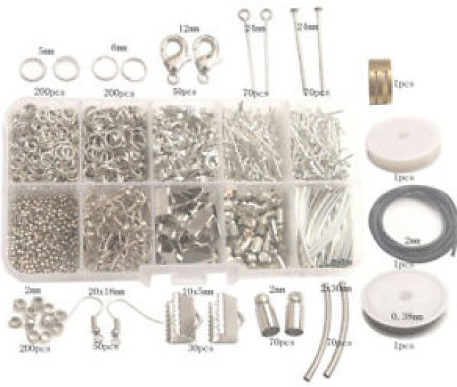 Details About Jewelry Making Supplies Kit 1014pcs Split Jump Ring Lobster Tube Wire Cord Etc
