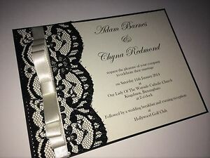 Details About Personalised Handmade Lace Wedding Invitation Card And Envelopes