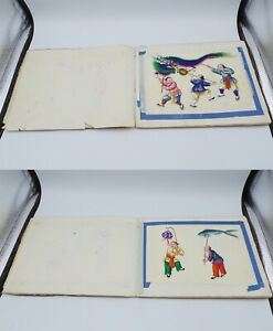 CHINESE NEW YEAR PARADE? PITH RICE PAPER PORTFOLIO OF WATERCOLOR PAINTINGS