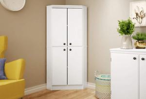 Corner Kitchen Cabinet Storage Pantry White Tall Bathroom Cupboard Shelves Doors 789081611908 Ebay