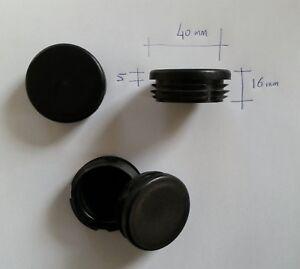 details sur 4 bouchons embouts pour tube rond plastique pvc noir diam 40 mm