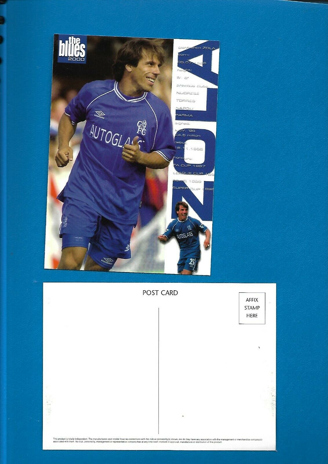 Football Postcard – Zola of Chelsea FC approx 1999/2000