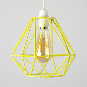 Image Is Loading Yellow Metal Wire Diamond Design Ceiling Light