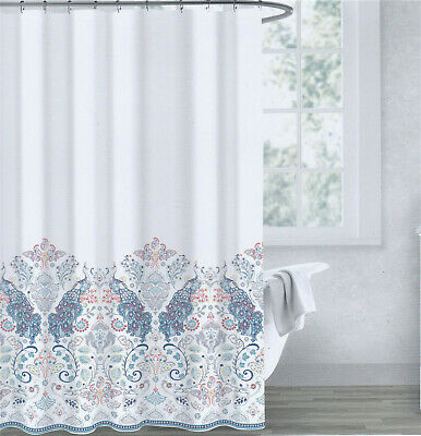 envogue cotton fabric shower curtain peacocks teal coral silver periwinkle new ebay