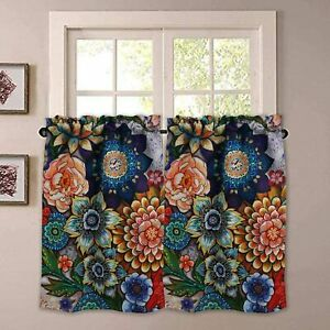 details about yokii boho floral kitchen curtains 36 inch blackout curtains for small windows