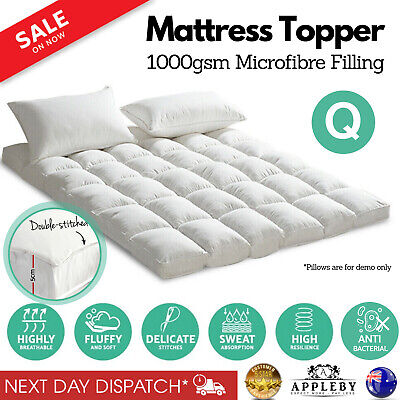 pillow top mattress topper fully fitted 1000gsm bed cover protector queen size ebay