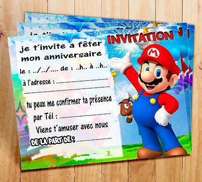 cartes invitation anniversaire super mario par 5 12 ou 16 ebay