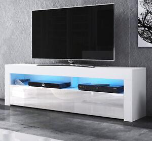 details zu tv lowboard flat tv unterteil 160 cm mit beleuchtung board in weiss hochglanz mex