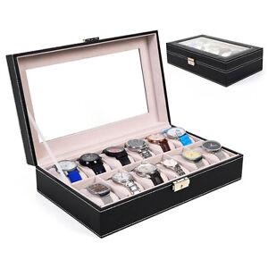 12 Slot Leather Watch Box Display Case Organizer Glass Top ...