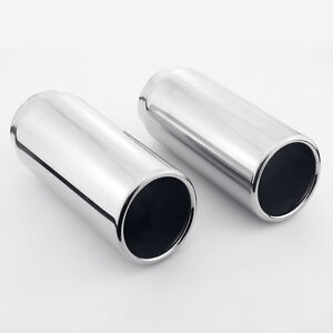 details about 2pcs 2 5 inlet 3 slant cut outlet rolled edge 304 stainless steel exhaust tips