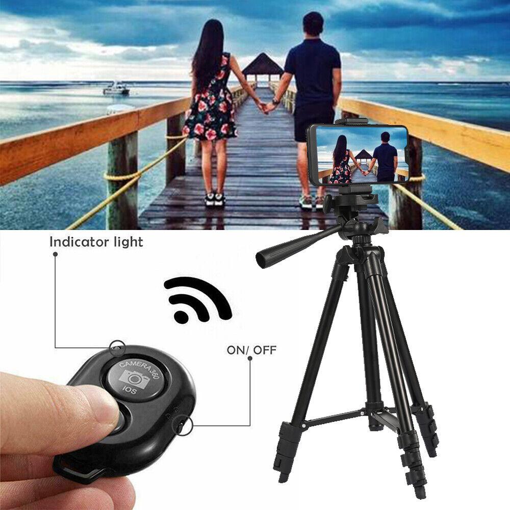 106cm Bluetooth Kamera Stativ Handy Halter Ständer für Smartphone iPhone Foto
