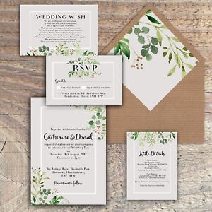 Details About Personalised Luxury Rustic Wedding Invitations Green Grey Leaves Packs Of 10