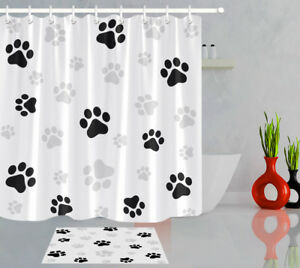 details about bathroom set black white dog paw prints shower curtain waterproof fabric hooks