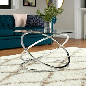 details about monarch clear glass round coffee table chrome base cft36 ch