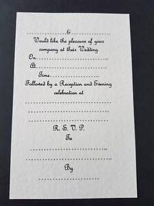 Details About 15 Wedding Invitation Inserts For A5 Gate Fold Card Ivory Linen