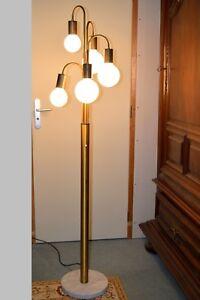 details sur lampadaire vintage design 70 5 lumieres base marbre dans le gout stilnovo deco