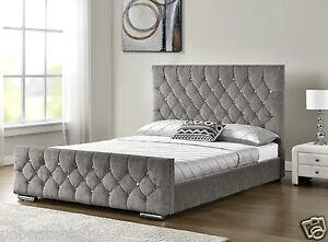 Image Is Loading Diamond Upholstered Fabric Bed Frame Velvet Chenille Double